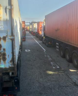 Queues at Felixstowe port