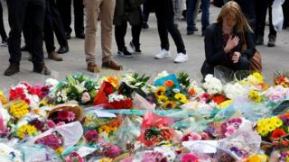 Floral tributes to the victims