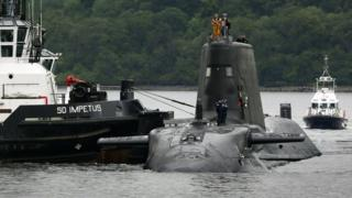 Artful, Britain's latest nuclear-powered submarine arriving at its new home on the Clyde in Scotland