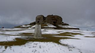 A photo of the summit of Moel Famau in the Clwydian Range
