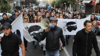 Protesters march in Ajaccio. Photo: 27 December 2015