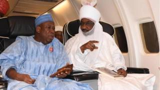 Kano State Govnor Abdullahi Ganduje and Emir of Kano Muhammad Sanusi II