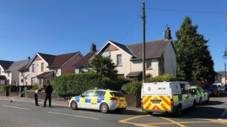 Police cordon on Pontygwindy Road