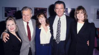 """Dallas"" cast members Charlene Tilton, Ken Kercheval, Mary Crosby, Patrick Duffy and Linda Gray"