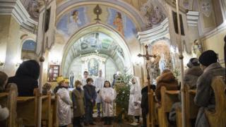 Празднование Рождества Христова в римско-католической церкви села Холмок Ужгородского района