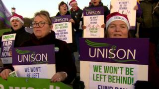 Health workers staged a protest at Stormont on Monday