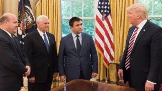 Посол Украины в США Валерий Чалый, вице-президент США Майкл Пенс, Павел Климкин и Дональд Трамп встретились в Вашингтоне