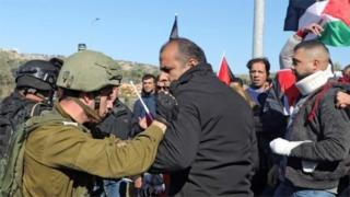 Israeli soldier and Palestinian protester scuffle (file photo)
