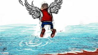 A tweet with an image of 3 year old Aylan Kurdi as an angel