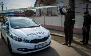 Slovak police car at crime scene, 26 Feb 18