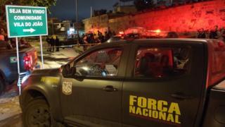 Policiais fazem patrulha na região onde agente da Força nacional levou tiro de fuzil