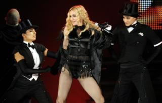 Madonna performs during a concert in Duessldorf as part of her 'Sticky & Sweet' world tour in 2008