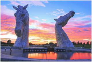 Kelpies at sunset