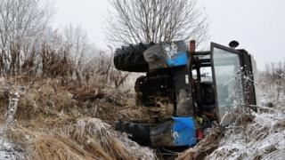 Tractor fallen into ditch