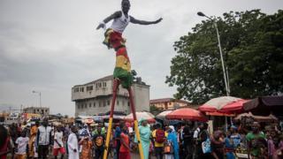 People wey dey celebrate for inside Accra