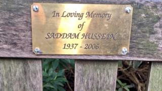 A plaque dedicated to Saddam Hussein mysteriously appeared on a London bench