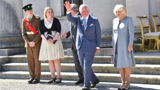 Prince of Wales and Duchess of Cornwall attend a garden party in County Fermanagh, hosted by NI Secretary Karen Bradley, also pictured