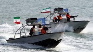 Iran's Revolutionary Guards Corps in patrol boats (file photo)