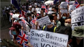 Hong Kong protesters rally outside British Consulate