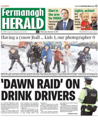 front page of the Fermanagh Herald Wednesday 13 December 2017