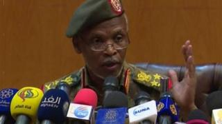 Lt Gen Omar Zain al-Abdin, di head of di political military committee dey tok to tori pipo