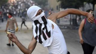 Demonstrator during anti-government protests following a massive explosion in Lebanon, 9 August 2020