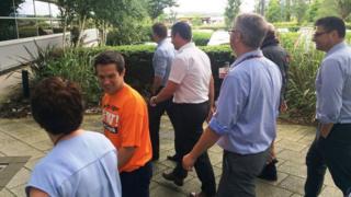 Health board staff taking part in a recent Walk@Work event in Baglan