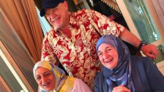 Raja Bashir Hashim (right), Sana Mohammed Bin Laden (left) and Zuhair Hashim (centre)