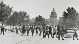 Protesto em 1946, em Washington, contra linchamentos no Sul do país