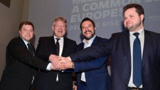 Salvini y otros miembros de partidos de derecha europeos.