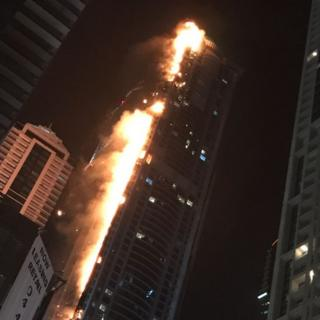 Burning skyscraper in Dubai