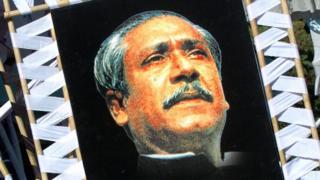 বাংলাদেশের প্রতিষ্ঠাতা রাষ্ট্রপতি শেখ মুজিবুর রহমানের ছবি দিয়ে পোস্টার
