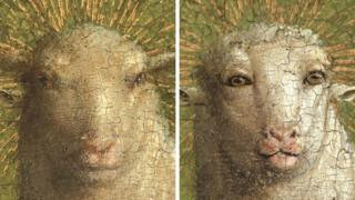 Pictures of the Lamb of God in the Ghent Altarpiece before and after the restoration