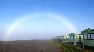 A fogbow captured at 10:00 GMT at Tywyn, Gwynedd