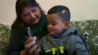 Umair and his grandmother on Skype