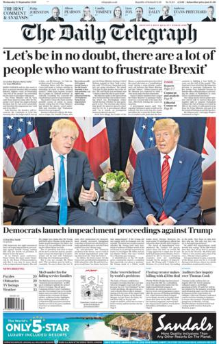 Daily Telegraph front page 25/09/19