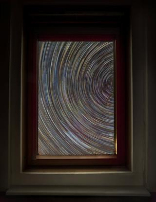 in_pictures Star trail taken from inside a house in Shropshire