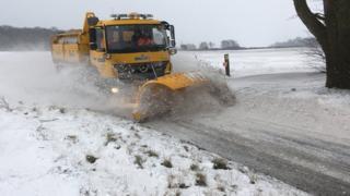 Snowplough near Ipswich
