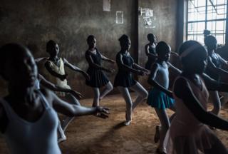 A ballet class in a school in Kibera in Kenya