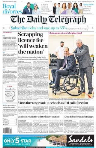 Front page of the Telegraph