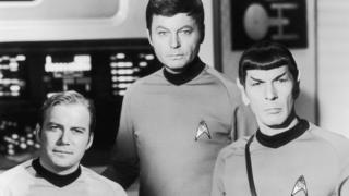 William Shatner, DeForest Kelley and Leonard Nimoy from the original Star Trek.