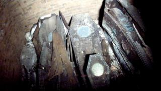 Coffins inside a tomb at Gloucester Cathedral
