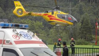 Police rescue helicopter in Zakopane on August 22, 2019