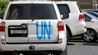 UN vehicles in Damascus, 19 April