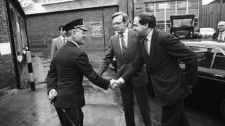 Home Secretary Leon Brittan visits a prison in 1984
