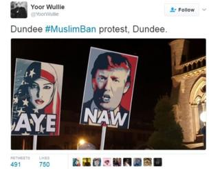 Yoor Wullie tweeted from the Dundee protest