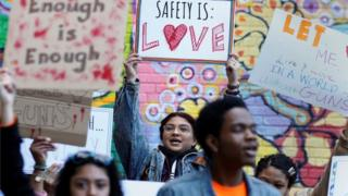Youth take part in a National School Walkout.