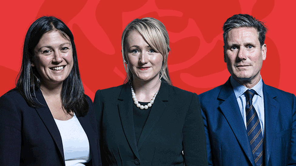 Labour leadership contenders Lisa Nandy, Rebecca Long-Bailey and Keir Starmer