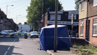 The scene of the stabbing in Darlaston