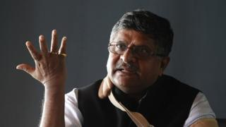 இந்தியாவின் தகவல் தொழில்நுட்ப அமைச்சர் ரவி சங்கர் பிரசாத்